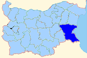 Burgas province shown within Bulgaria