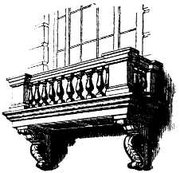 A balcony comprising a  supported at either end by . The balcony is supported on console brackets.