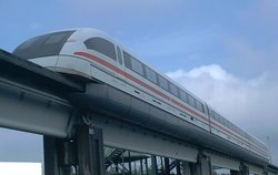 Transrapid maglev train on the test track at , Germany.
