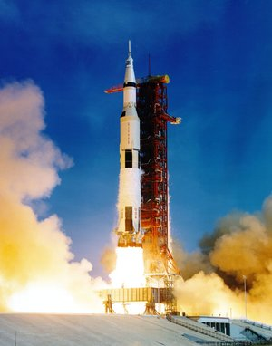Apollo 11 lifts off on its mission to land a man on the moon