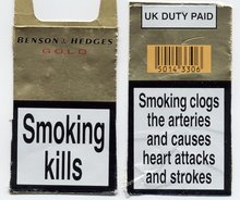The front and back of a UK cigarette packet (2003)