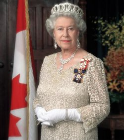 Queen Elizabeth II. The Queen poses for different official portraits in each country. Here she poses as the  wearing the insignia of the