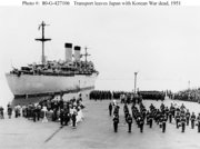 The first American war dead were brought home aboard the USS Randall, shown here departing  on , .