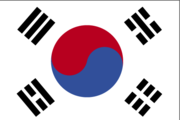 The flag of South Korea, with tàijítú in the center with four trigrams representing earth, air, fire, and water.