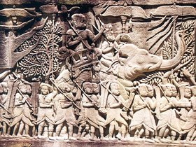 A  army going to war against the , from a relief on the .