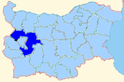 Sofia province shown within Bulgaria