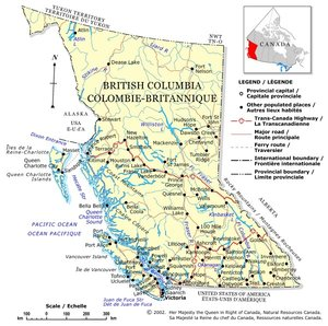 British Columbia map from the Atlas of Canada
