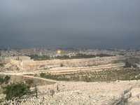 A view of the Old City of Jerusalem taken from the Jewish Cemetery on the .