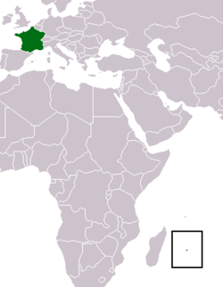 Location of Reunion and France proper