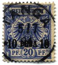 10 pesa on 20 pfennig overprint of 1893, used   at