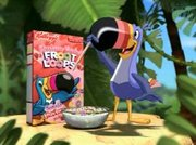 Canadian Froot Loops ad, Toucan Sam with a straw