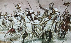 Teutonic Knights, charging into battle. Note the distinct black cross on the white background.