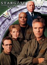 Stargate SG-1 characters. From left to right: Daniel Jackson, Samantha Carter, Teal'c, George Hammond and Jack O'Neill.