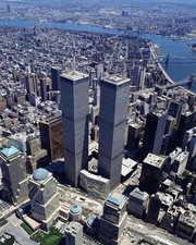 An aerial view of the WTC