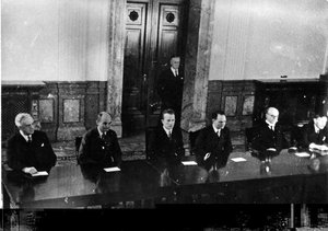 The Nuremberg judges, left to right: , , , , ,