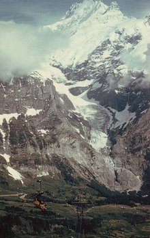 The Upper Grindelwald Glacier and the Schreckhorn, at Grindelwald, Switzerland