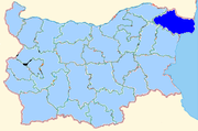Dobrich province shown within Bulgaria