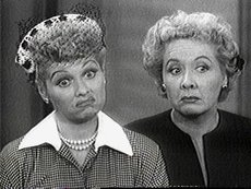 Lucille Ball as Lucy,  as Ethel on an episode of I Love Lucy