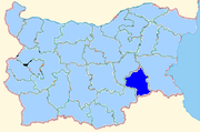 Yambol province shown within Bulgaria