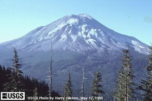 Mount St. Helens — a stratovolcano — the day before the , , eruption that removed much of the top of the mountain