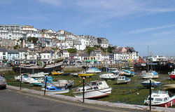 The inner harbour, , south Devon, at low tide