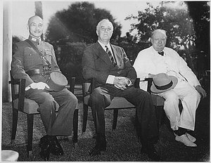 of China, Roosevelt, and Winston Churchill of Britain at the  in 1943