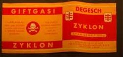"Zyklon B label — Note that ""Gift"" translates as ""poison"""